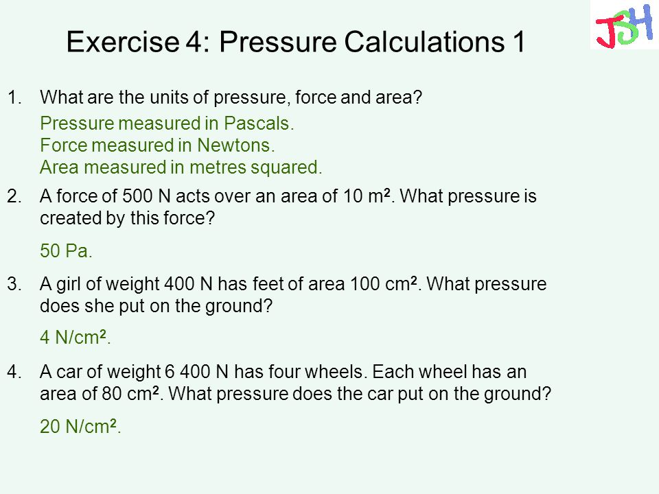 Exercise 4: Pressure Calculations 1