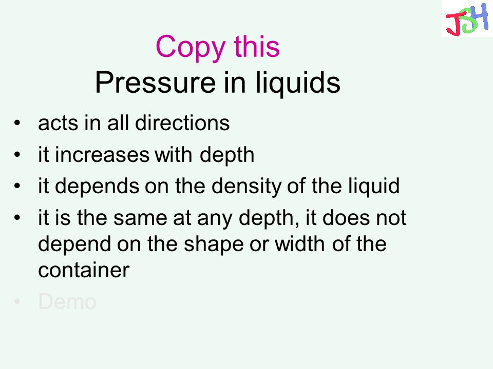 Copy this Pressure in liquids