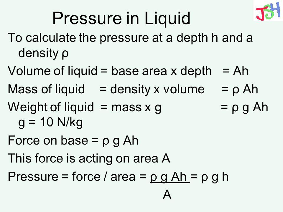 Pressure in Liquid