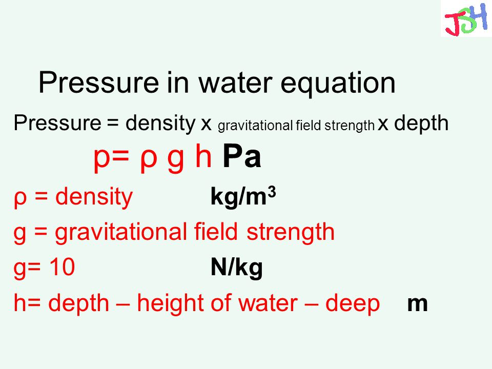 Pressure in water equation