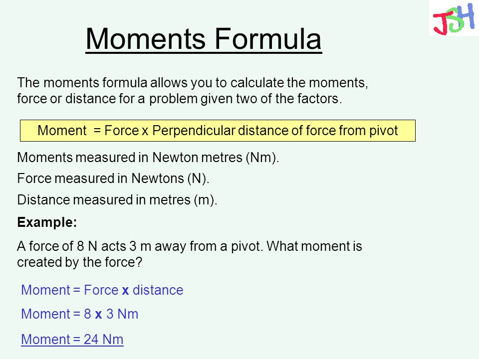Moment = Force x Perpendicular distance of force from pivot