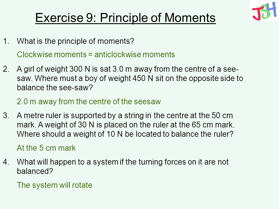 Exercise 9: Principle of Moments