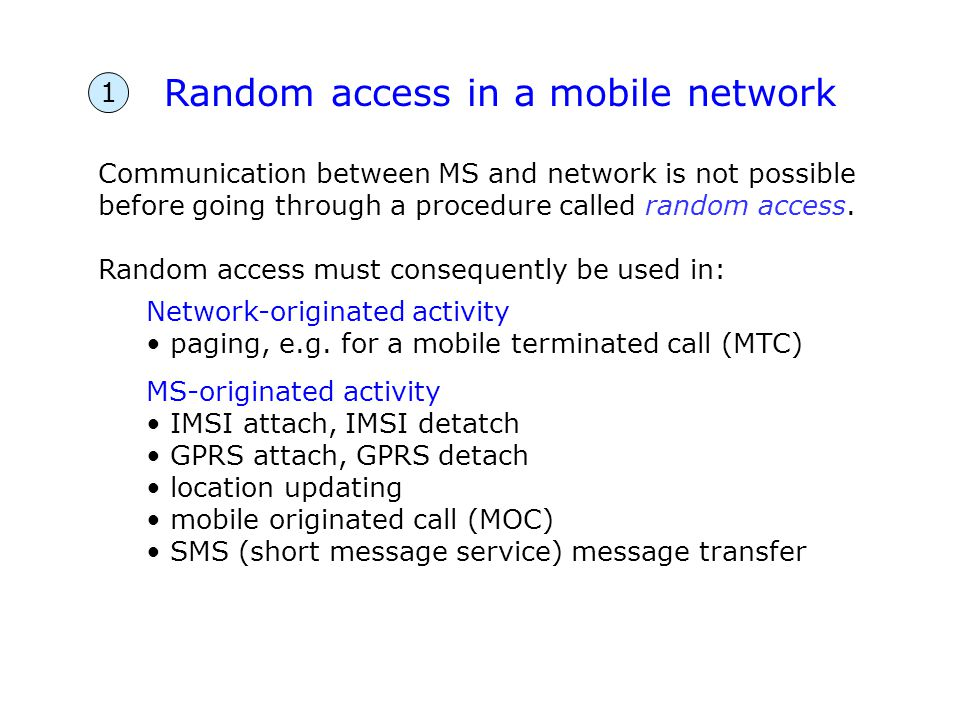 Random access in a mobile network