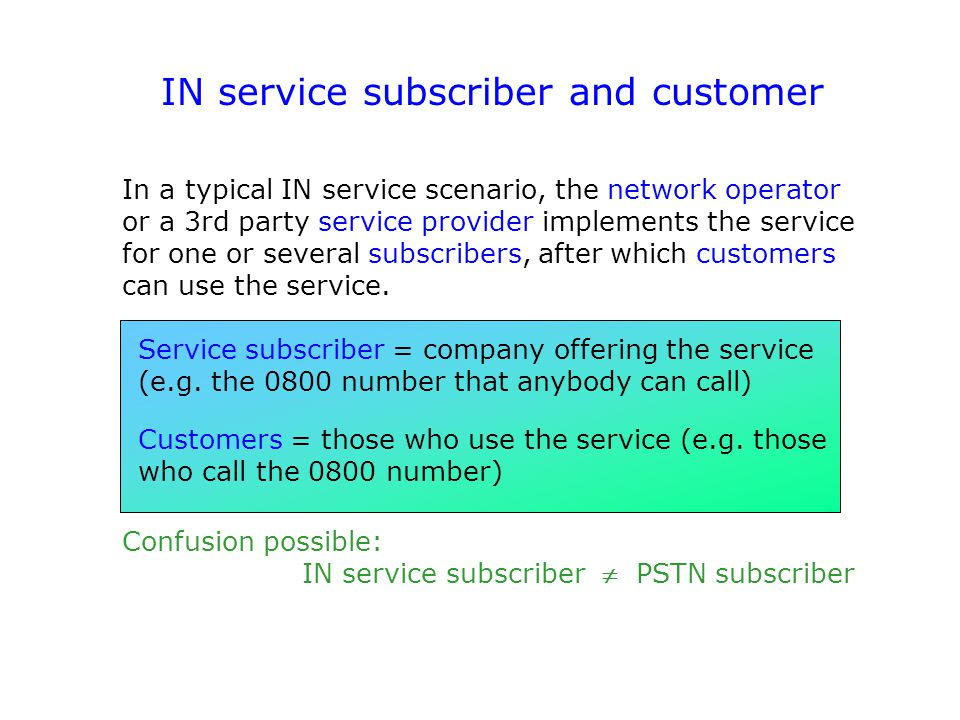 IN service subscriber and customer