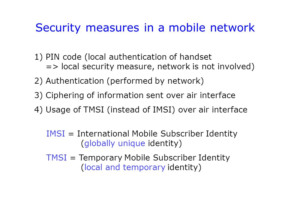 Security measures in a mobile network