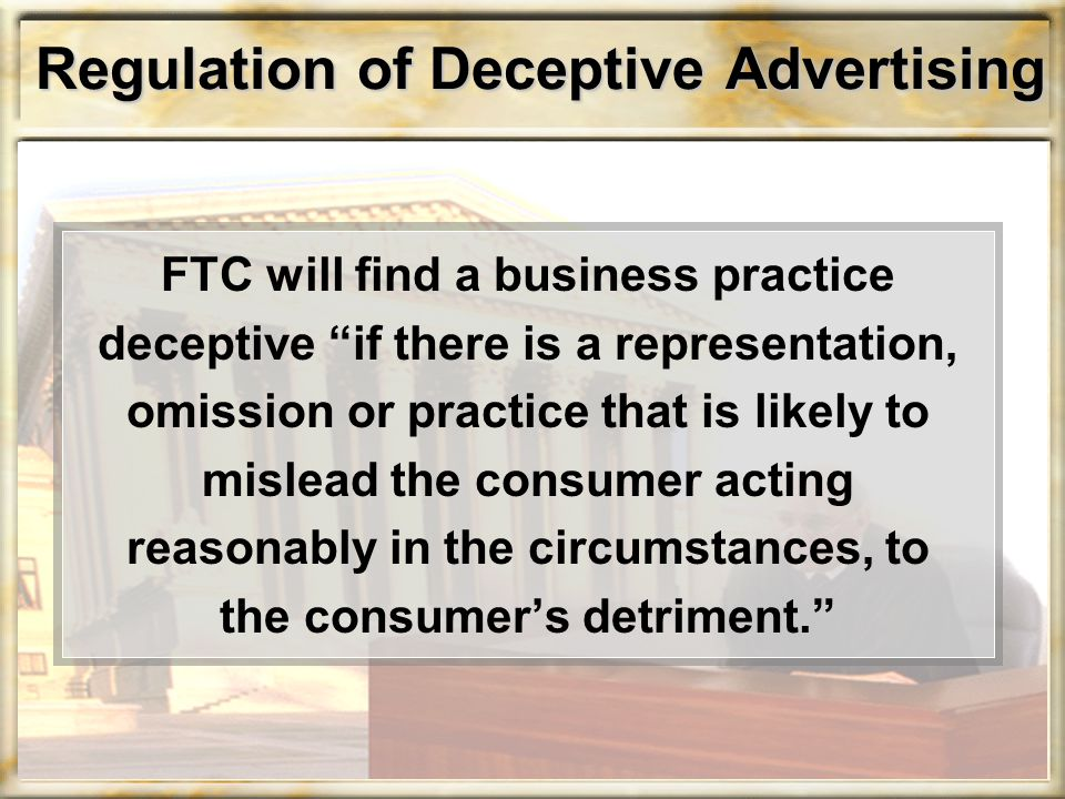 Regulation of Deceptive Advertising