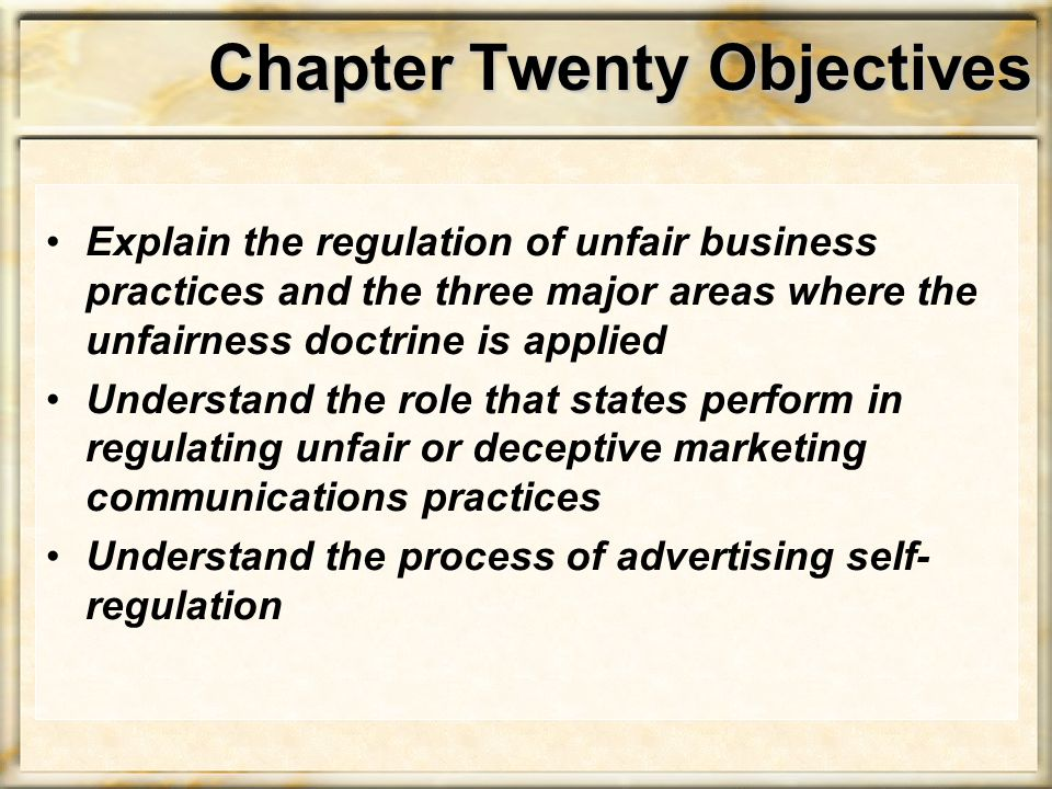 Chapter Twenty Objectives