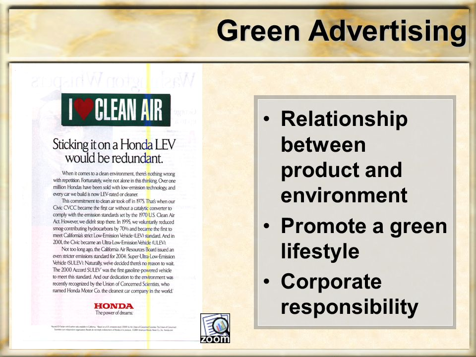 Green Advertising Relationship between product and environment