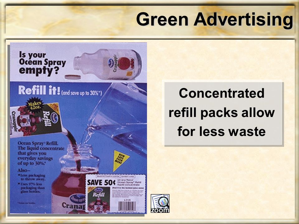 Green Advertising Concentrated refill packs allow for less waste