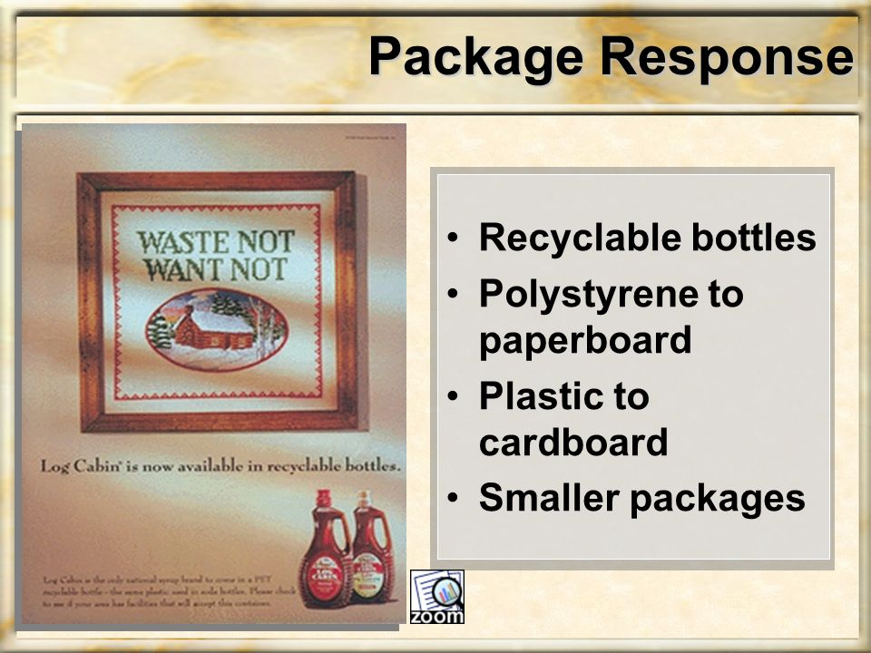 Package Response Recyclable bottles Polystyrene to paperboard