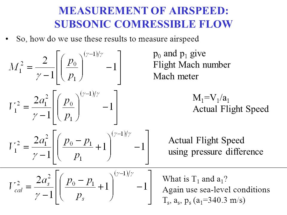 MEASUREMENT OF AIRSPEED: SUBSONIC COMRESSIBLE FLOW