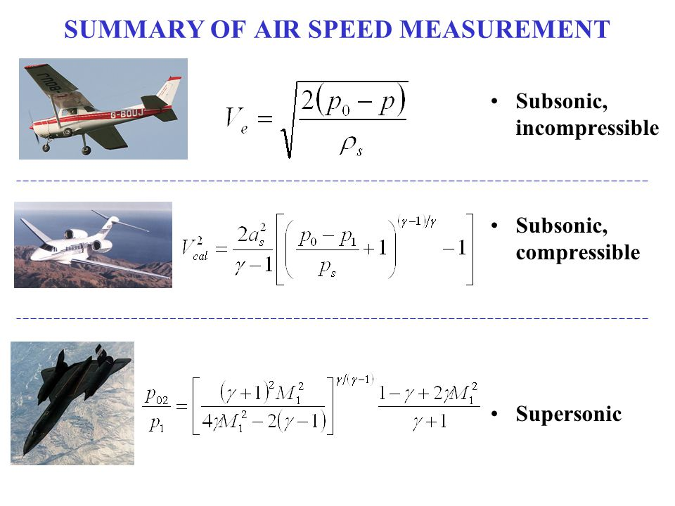 SUMMARY OF AIR SPEED MEASUREMENT