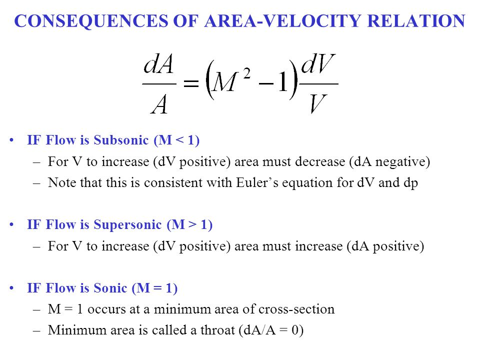 CONSEQUENCES OF AREA-VELOCITY RELATION