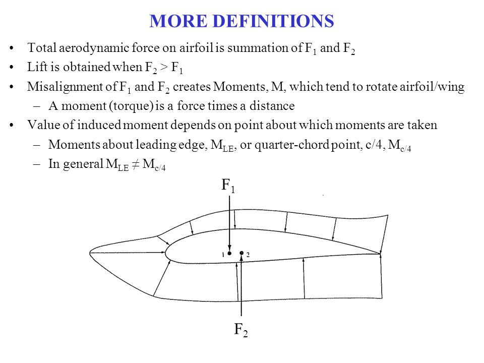 MORE DEFINITIONS Total aerodynamic force on airfoil is summation of F1 and F2. Lift is obtained when F2 > F1.