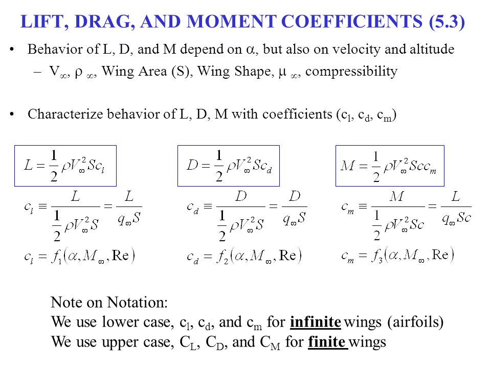 LIFT, DRAG, AND MOMENT COEFFICIENTS (5.3)