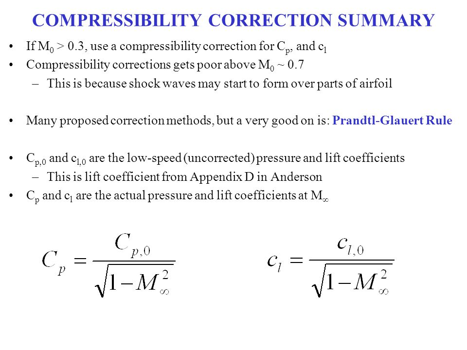 COMPRESSIBILITY CORRECTION SUMMARY