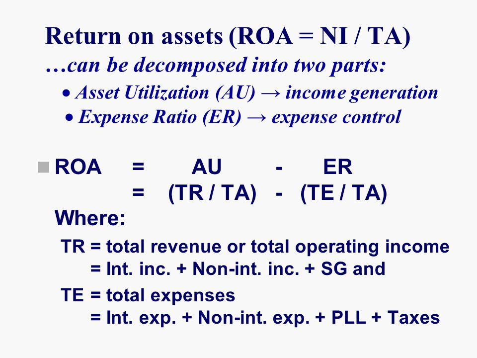 Return on assets (ROA = NI / TA) …can be decomposed into two parts:  Asset Utilization (AU) → income generation  Expense Ratio (ER) → expense control