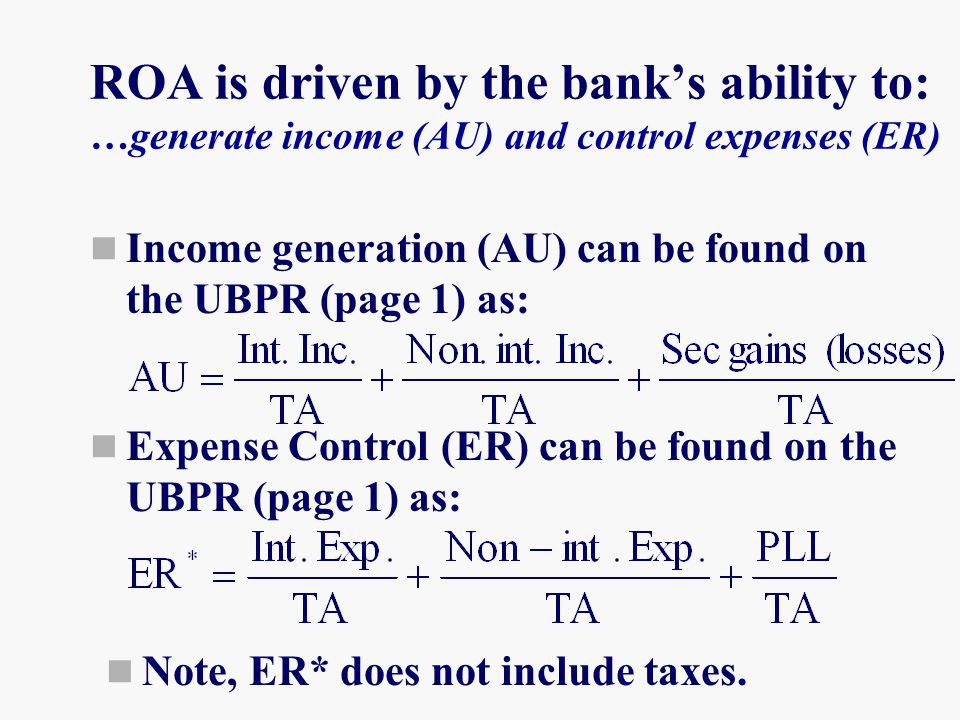 ROA is driven by the bank's ability to: …generate income (AU) and control expenses (ER)