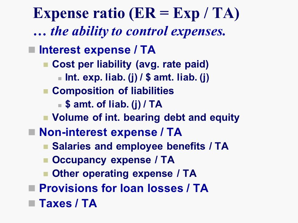 Expense ratio (ER = Exp / TA) … the ability to control expenses.