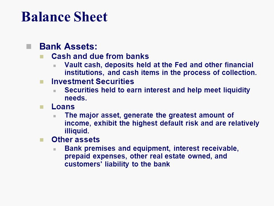 Balance Sheet Bank Assets: Cash and due from banks