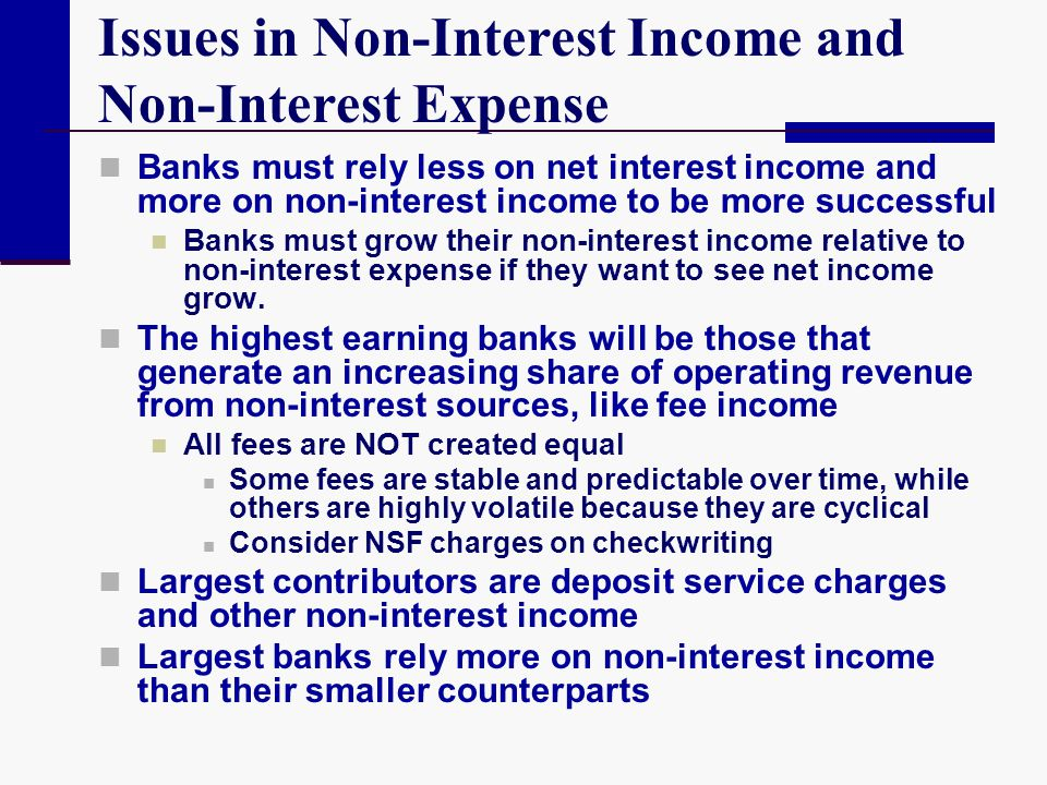 Issues in Non-Interest Income and Non-Interest Expense