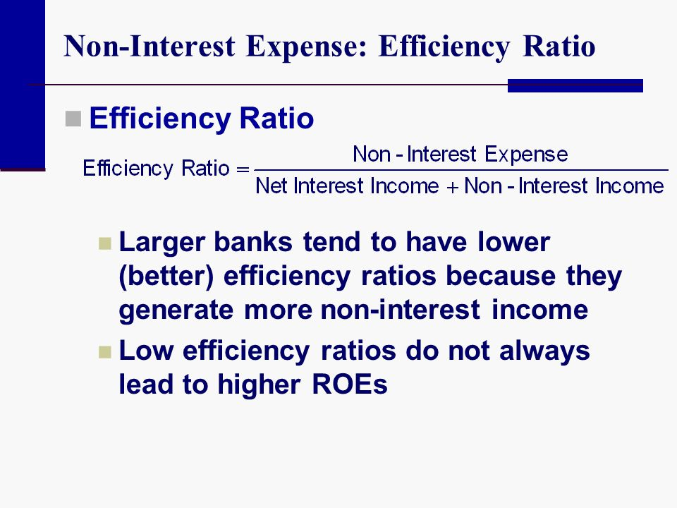 Non-Interest Expense: Efficiency Ratio