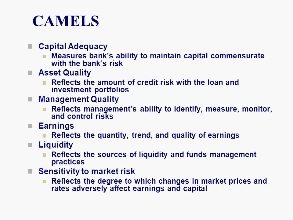 CAMELS Capital Adequacy Asset Quality Management Quality Earnings