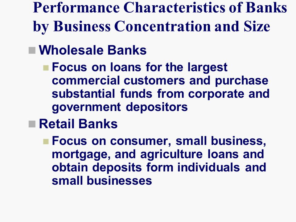 Performance Characteristics of Banks by Business Concentration and Size