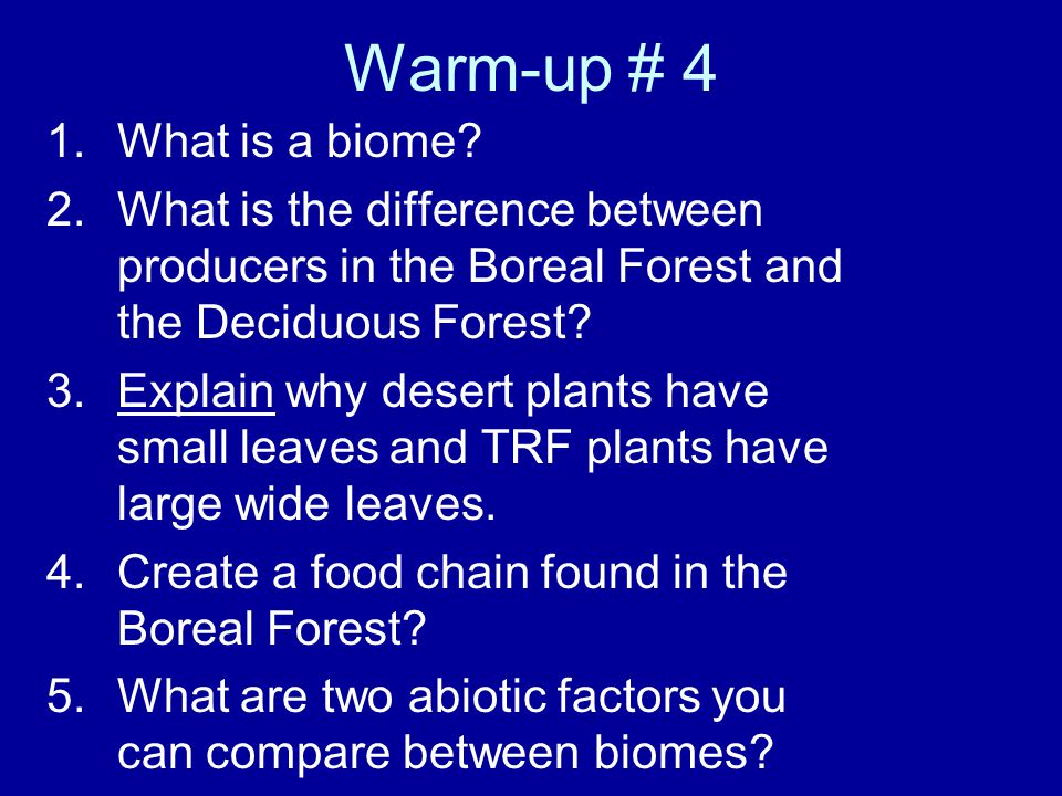 Warm-up # 4 What is a biome