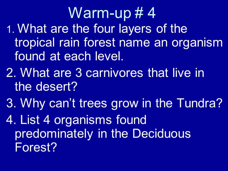 Warm-up # 4 2. What are 3 carnivores that live in the desert