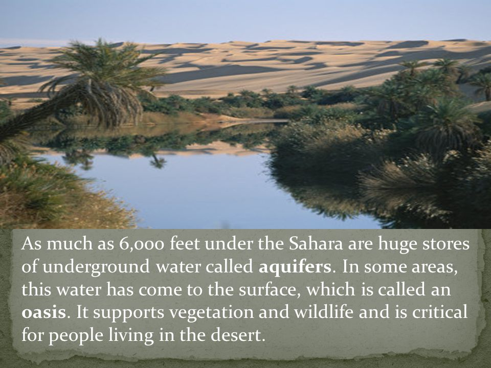 As much as 6,000 feet under the Sahara are huge stores of underground water called aquifers.