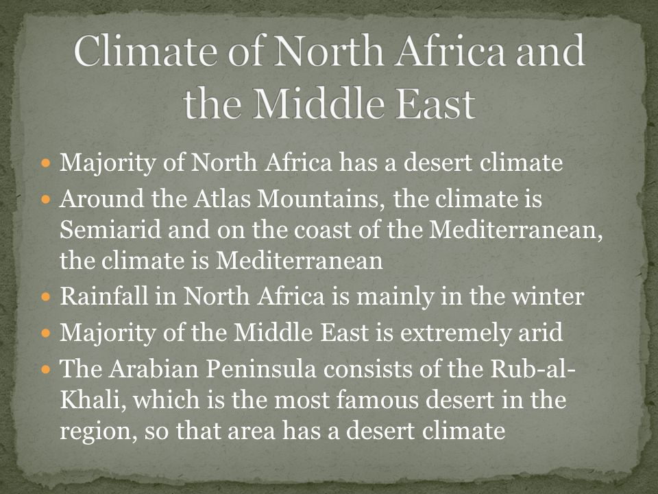 Climate of North Africa and the Middle East