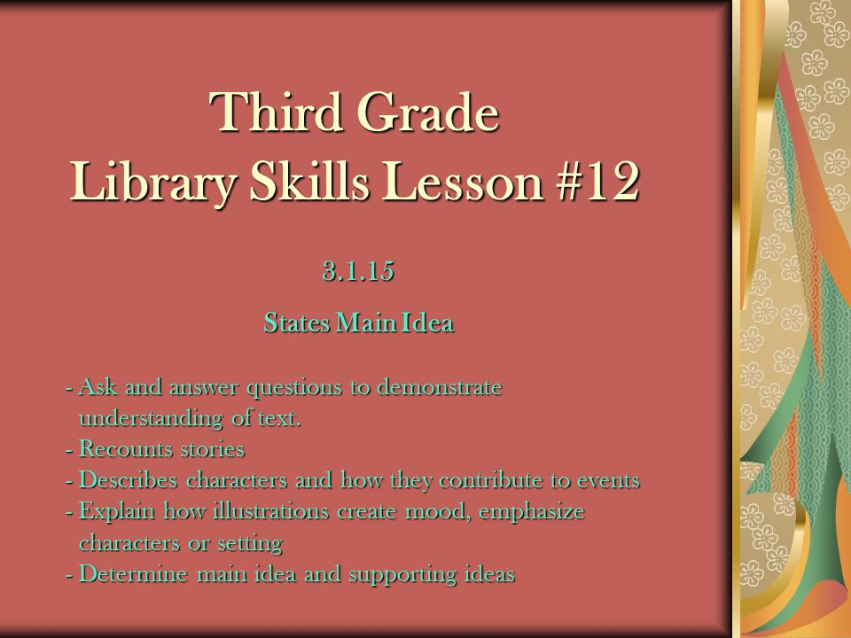 Third Grade Library Skills Lesson #12