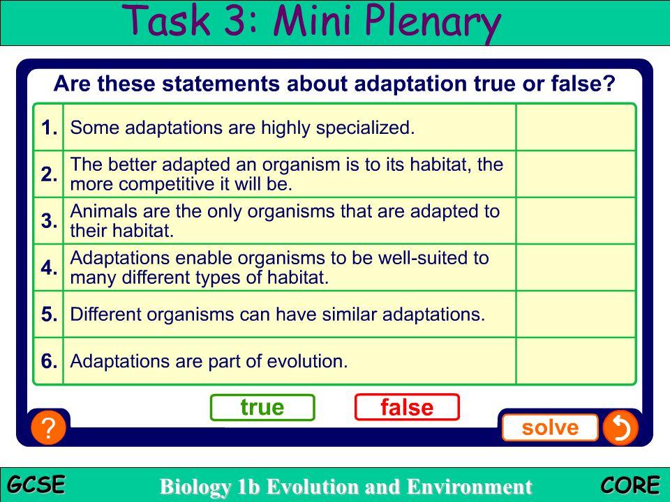 Task 3: Mini Plenary True or false Teacher notes
