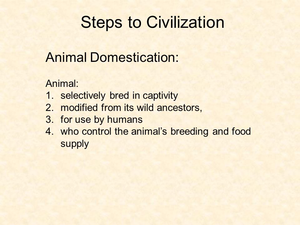 Steps to Civilization Animal Domestication: Animal: