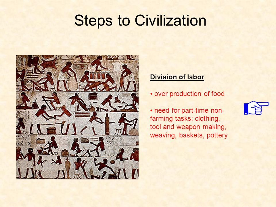 Steps to Civilization Division of labor over production of food