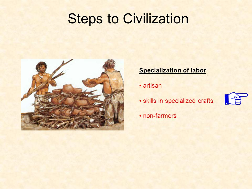 Steps to Civilization Specialization of labor artisan