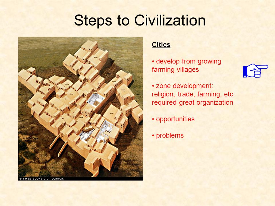 Steps to Civilization Cities develop from growing farming villages