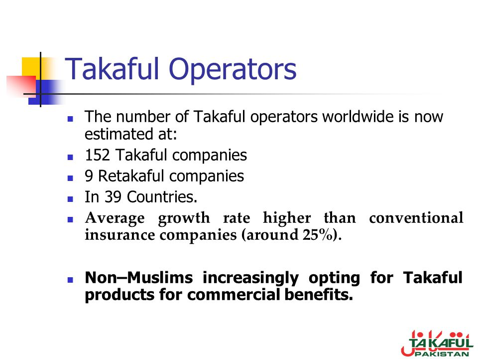 Takaful Operators The number of Takaful operators worldwide is now estimated at: 152 Takaful companies.