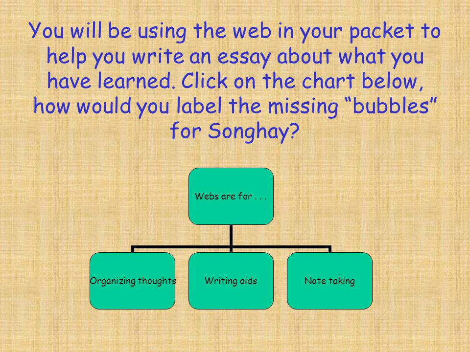 You will be using the web in your packet to help you write an essay about what you have learned.