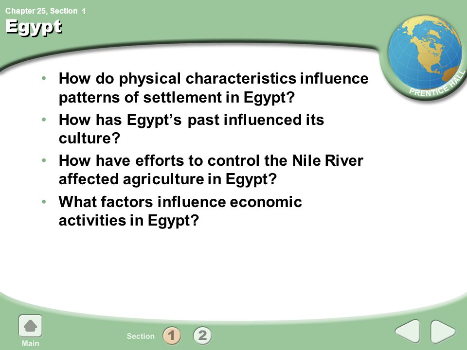 1 Egypt. How do physical characteristics influence patterns of settlement in Egypt How has Egypt's past influenced its culture
