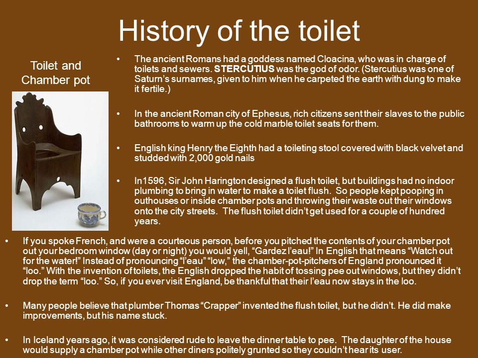 History of the toilet Toilet and Chamber pot