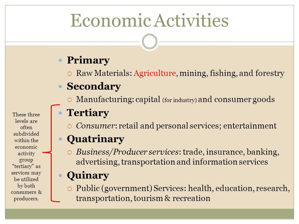 Economic Activities Primary Secondary Tertiary Quatrinary Quinary