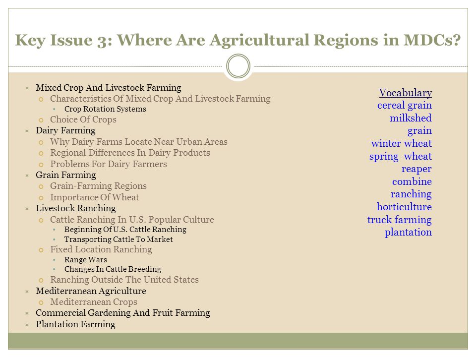 Key Issue 3: Where Are Agricultural Regions in MDCs