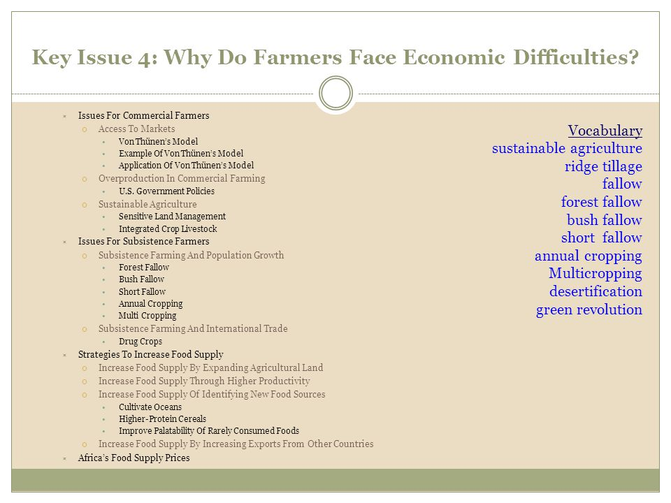 Key Issue 4: Why Do Farmers Face Economic Difficulties