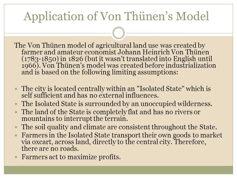Application of Von Thünen's Model