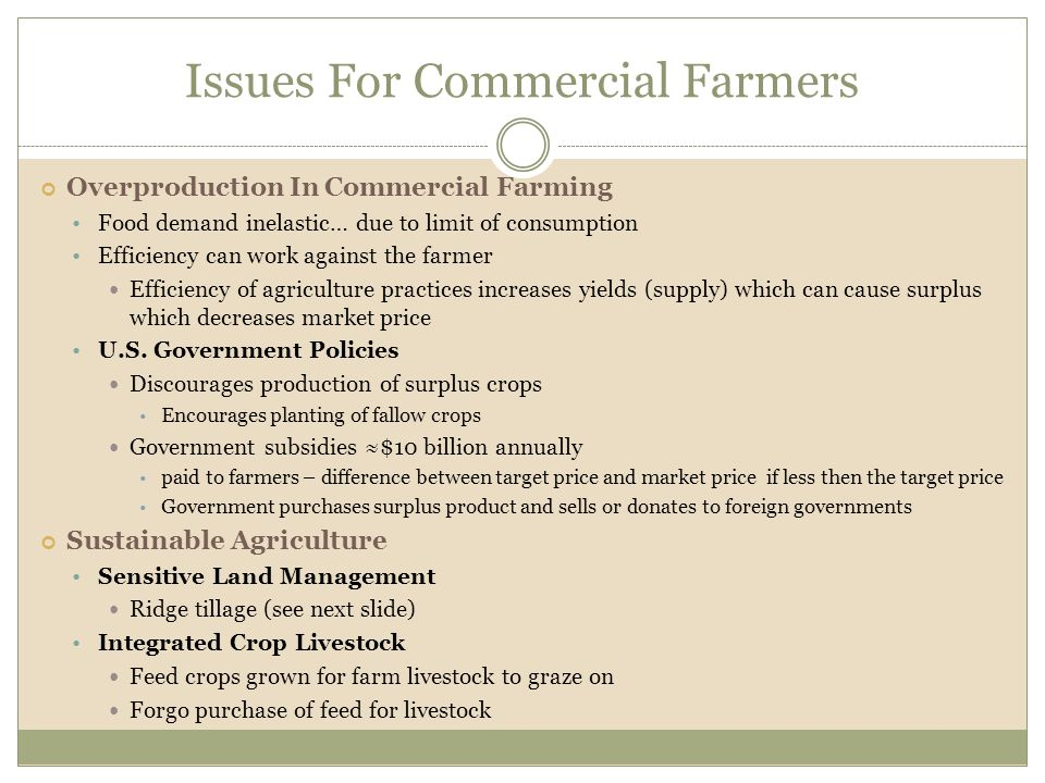 Issues For Commercial Farmers