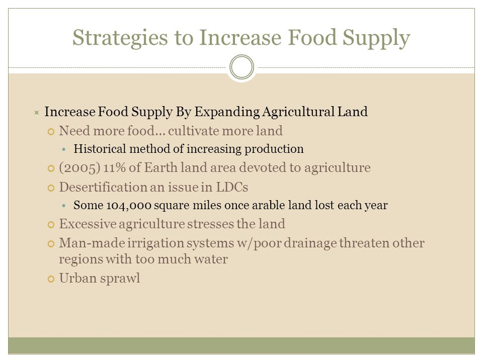 Strategies to Increase Food Supply