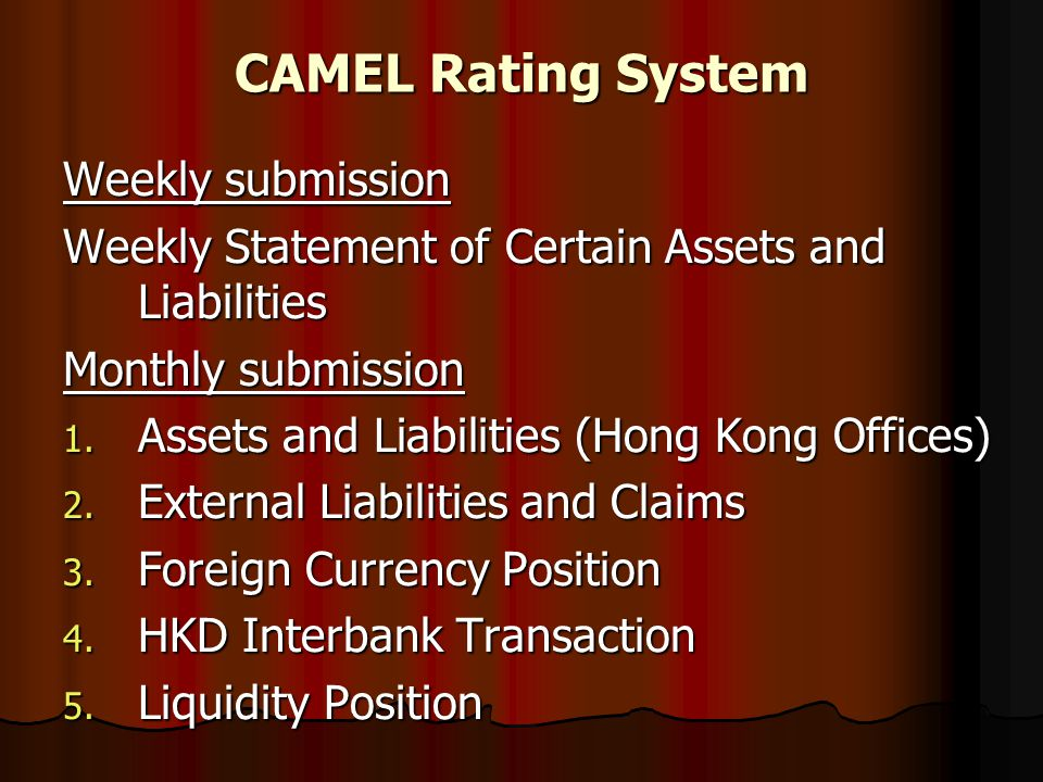 CAMEL Rating System Weekly submission