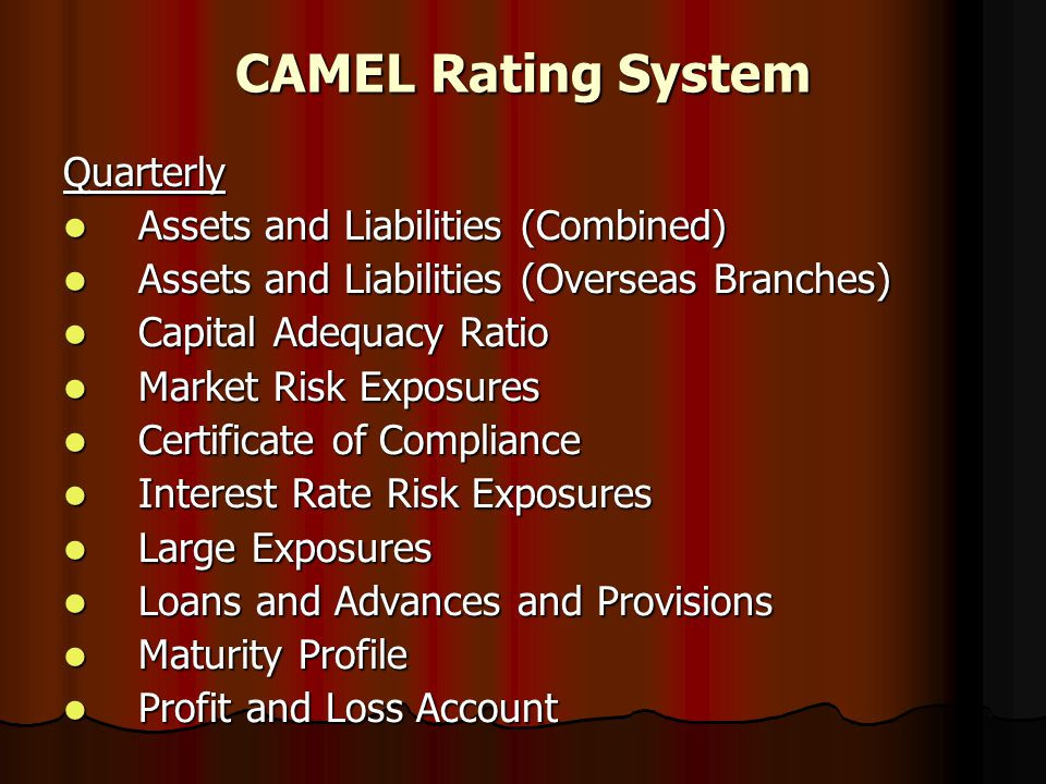 CAMEL Rating System Quarterly Assets and Liabilities (Combined)